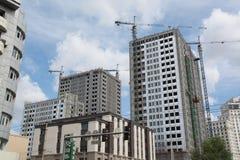 Three constructing building. Three multistory building are constructing next to each other Royalty Free Stock Photography