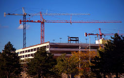 Three construction cranes Stock Photos