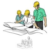 Three construction engineer looking at blueprint in constructio. N site illustration sketch doodle hand drawn with black lines isolated on white background stock illustration