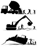 Three construction scenes Royalty Free Stock Photo