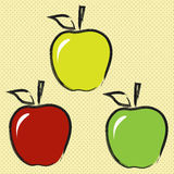 Three contour apple. Three apples in the contour style, in different colors Royalty Free Stock Image