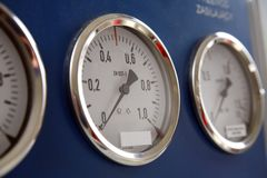 Three controll metres. Three control metres in train cockpit Stock Photo