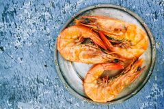 Three Cooked Shrimps on Can Stock Images