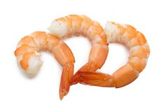 Three cooked unshelled tiger shrimps isolated on white backgroun Stock Photography