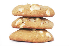 Three Cookie Biscuits With White Chocolate And Nut. Three Cookie Biscuits With White Chocolate And Macadamia Nuts, Plain Background royalty free stock image