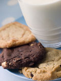 Three Cookies On A Plate With A Glass Of Milk Stock Photos