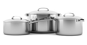 Three cooking pans isolated on white Royalty Free Stock Image
