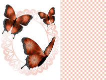 Three Copper Butterflies and Oval Frame Presentation Slide Background Royalty Free Stock Photography