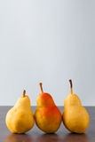 Three corella pears vertical Royalty Free Stock Photos