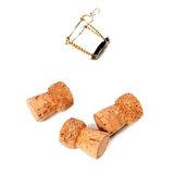 Three cork from champagne wine and muselet Stock Images