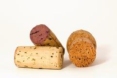 Three cork macro. Macro of three different wine cork, isolated on white Stock Image