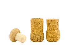 Three cork stoppers isolated on white Royalty Free Stock Image