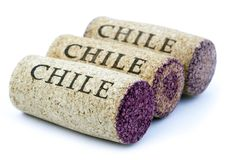 Chile Wine Corks. Three corks aligned in a row diagonally to the camera,  on white background Stock Images