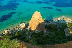Three-cornered Rock near the sea. Halkidiki, Greece Stock Photo