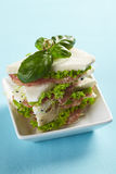 Three-cornered tramezzini with basil, salami, salad and sprouts Stock Images