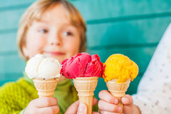 Three corns of ice cream Stock Image