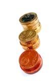 Three coulmns of euro stock photo