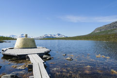 Three-Country Cairn in Lapland Stock Images