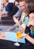 Three couples on a romantic date in the night club Stock Images