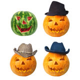 Three cowboy pumpkins and melon. Three cowboy pumpkins and watermelon with three different hats Stock Image