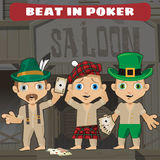 Three cowboys beat in poker in the saloon Royalty Free Stock Photography