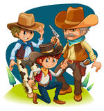 Three cowboys in different positions. Illustration of the three cowboys in different positions on a white background Stock Photos