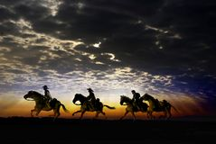 Cowboy riders under the sunset. Three cowboys on their horses, riding by fields at sunset, under cloudy sky Royalty Free Stock Photo