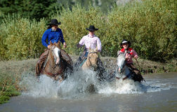 Three Cowgirls Entering Pond. Splashing water royalty free stock photo