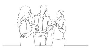 Three coworkers chatting drinking coffee - one line drawing stock illustration
