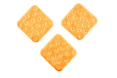 Three crackers top view. Three crackers on an isolated background top view Stock Photography