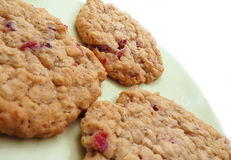 Three cranberry oatmeal cookies. Three homemade cranberry oatmeal cookies on green plate Royalty Free Stock Photography