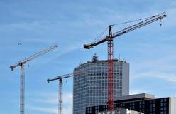 Three cranes in the Birmingham Royalty Free Stock Photo