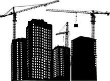 Three cranes and building Stock Image