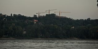 Three cranes on other side of river Danube stock image