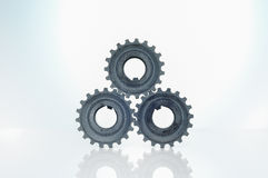 Crankshaft gearbox component. Three crankshaft gearbox component on top Royalty Free Stock Photography