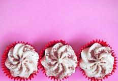 Three cream cupcakes Royalty Free Stock Photos