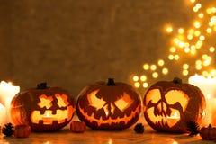 Three creepy pumpkins Royalty Free Stock Images