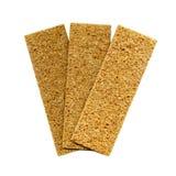 Three crispbreads. Healthy food: three crispbreads isolated over white Stock Photo