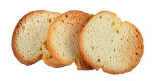 Three crispy crackers isolated on white background stock images