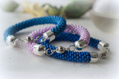 Three crochet bracelet from large beads Royalty Free Stock Image