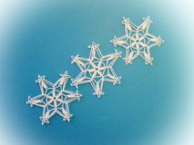 Three crochet snowflakes Royalty Free Stock Images