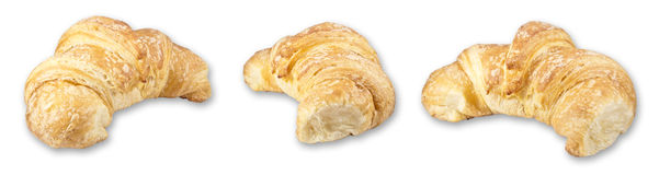 Three croissants. Three isolated crossaints with shadow on a white background vector illustration