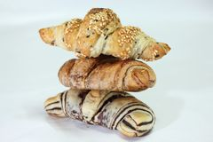 Three Croissants Royalty Free Stock Photography