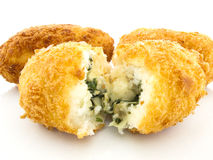 Three croquettes on white background Stock Photography