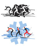 Three cross country skiers. Royalty Free Stock Images