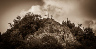 Three cross on hill Royalty Free Stock Image