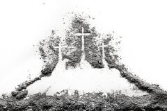 Free Three Cross On Golgota Hill Drawing Made Of Ash Or Dus Stock Image - 170514741