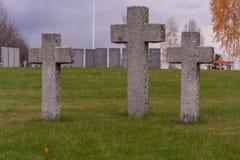 Three cross scene. Three stone cross scene on cementery Royalty Free Stock Photography
