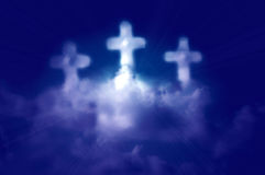 Three Cross Shaped Clouds Heaven Stock Image
