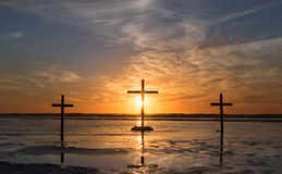 Three Cross Waters Sunset. Royalty Free Stock Photo
